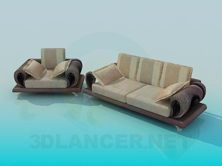 3d modeling Sofa and armchair complete model free download