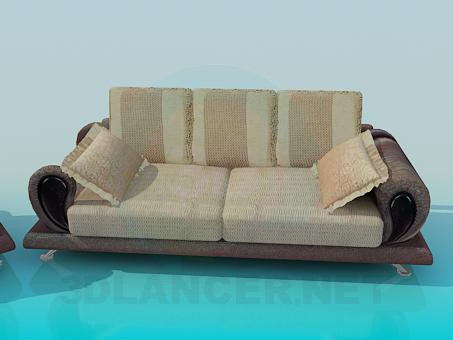 3d model Sofa and armchair complete - preview