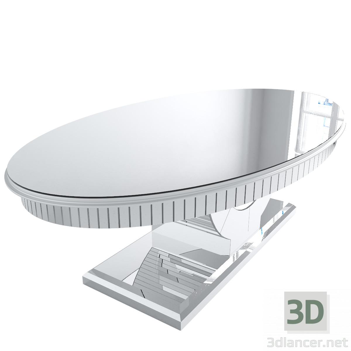 3d Oval Mirrored Dining Table model buy - render