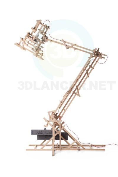 3d модель лампа з деревяннsх брусків – превью