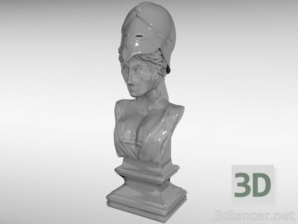 3d bust of the goddess Athena model buy - render