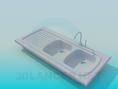3d modeling Double kitchen sink model free download