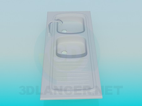 3d model Double kitchen sink - preview