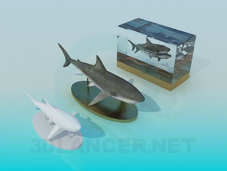 3d model The decor of fish on the table - preview