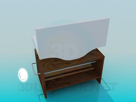 3d модель Умывальник с деревянной тумбой – превью