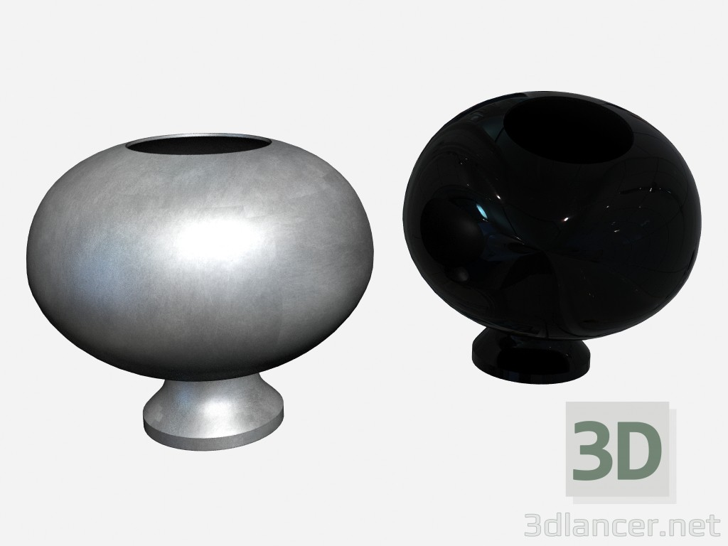 3d model Round vase footed Vase black lacquer (2 variants) - preview