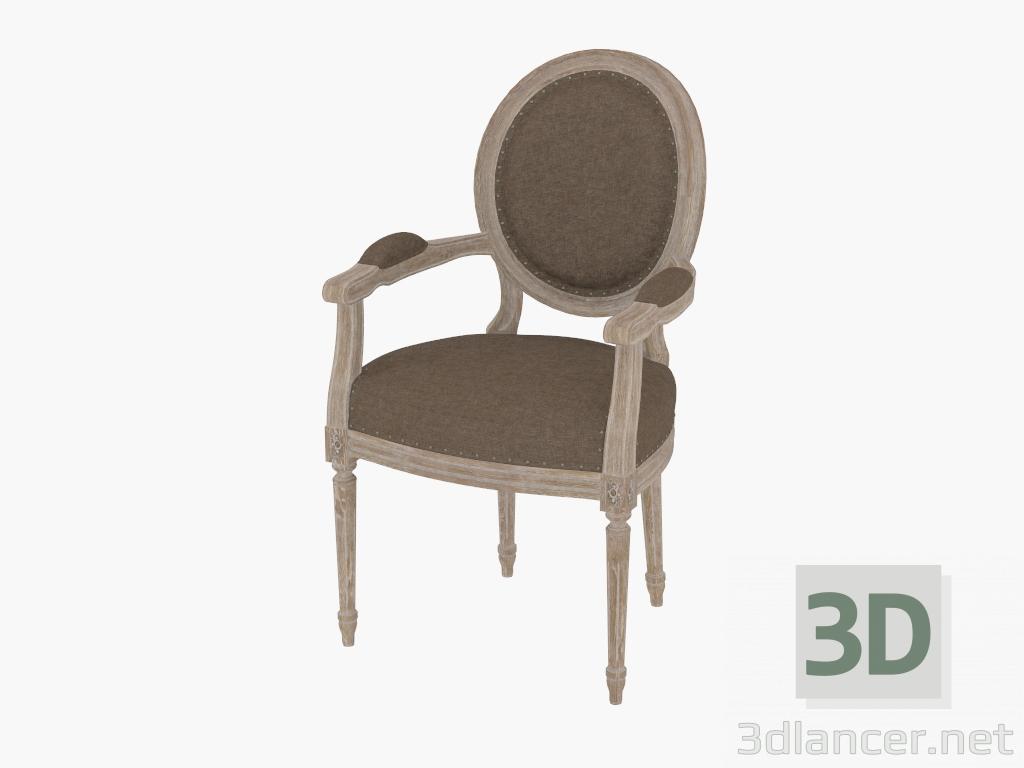 Modelo 3d una silla de comedor con apoyabrazos del franc s for Sillas comedor con apoyabrazos