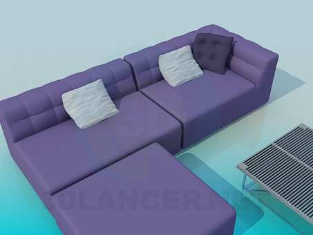 3d model A set of upholstered furniture with table - preview