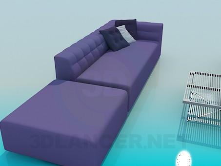 3d модель Набор мягкой мебели со столиком – превью