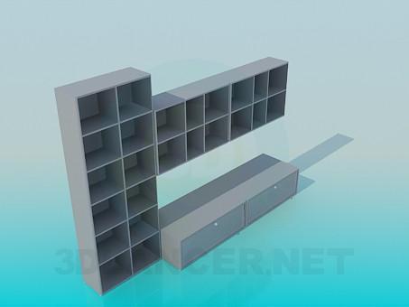 3d модель Стелажі для книжок з підставкою для ТБ – превью