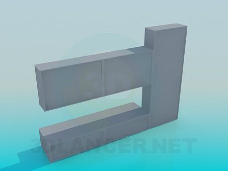 3d модель Стеллажи для книг с подставкой для ТВ – превью