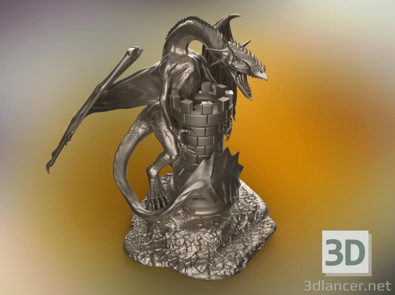 3d dragon and castle model buy - render