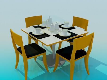 3d модель Засервірованний чайний столик – превью
