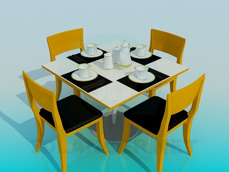 3d model Served tea table - preview