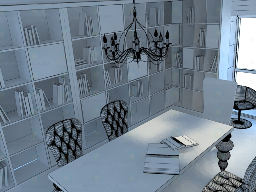 3d  Library  model buy - render