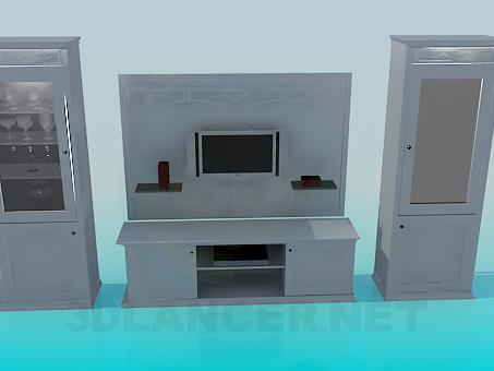 descarga gratuita de 3D modelado modelo Un conjunto de muebles en la sala de estar