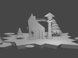 Casa con arboles de navidad