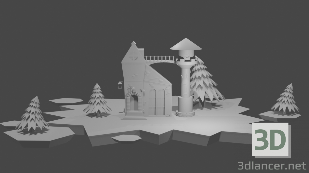 3d model House with Christmas trees - preview