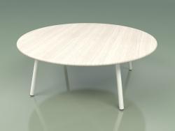 Coffee table 012 (Metal Milk, Weather Resistant White Colored Teak)
