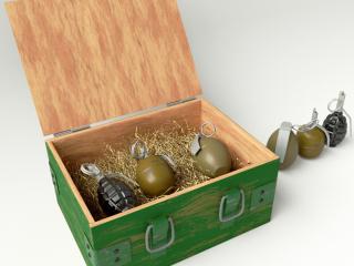 Eine Reihe von Granaten in der Box