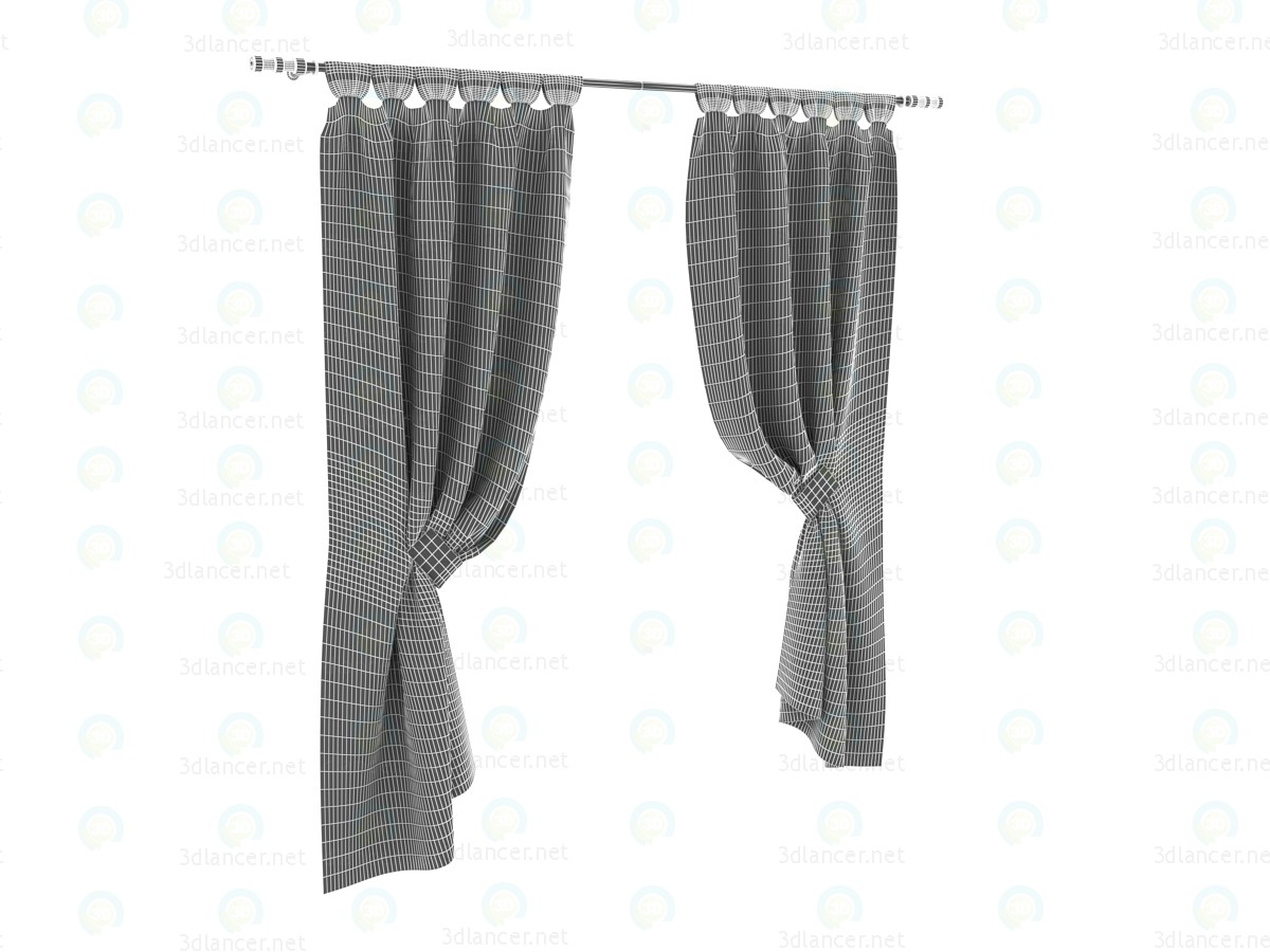 3d Silk curtains with magnetic pickup model buy - render