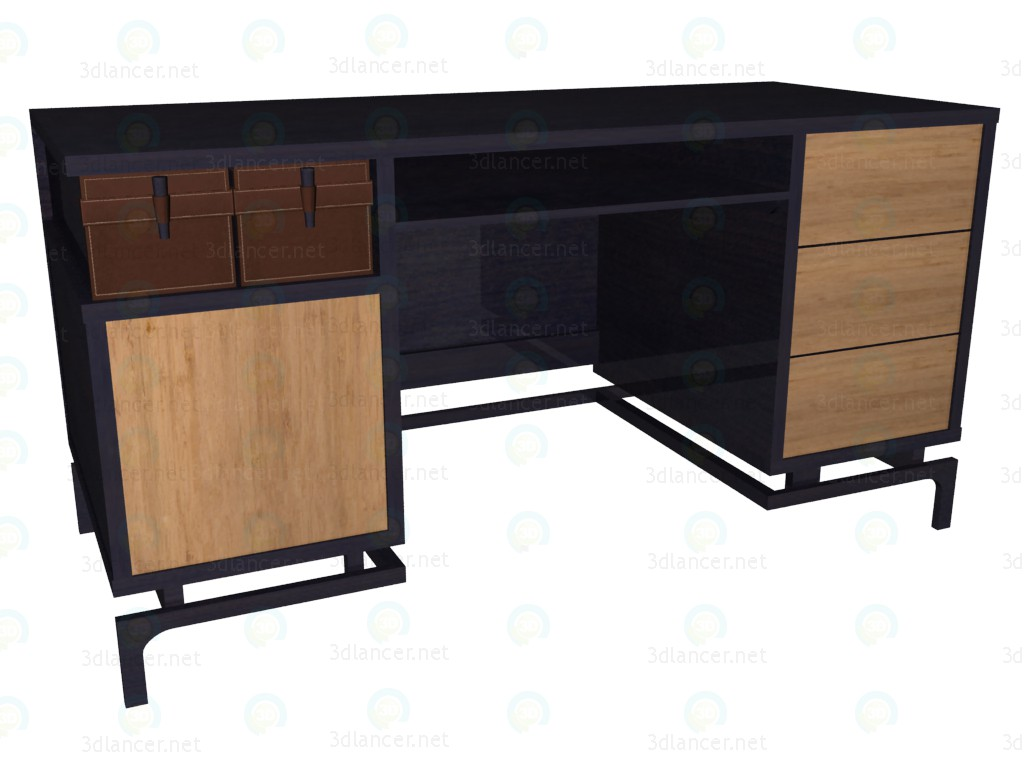 modelo 3D Mesa de escritorio (cajones wengue) - escuchar