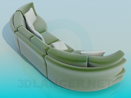 3d model Semicircular sofa - preview