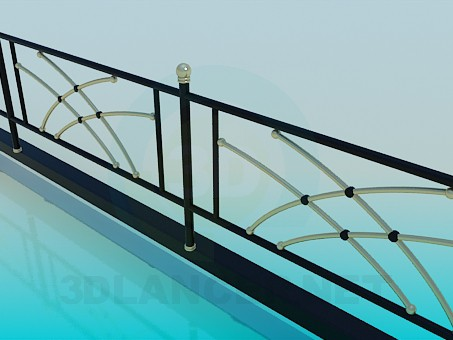 3d model Railing with golden elements - preview