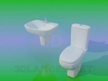 3d model Toilet with washbasin - preview