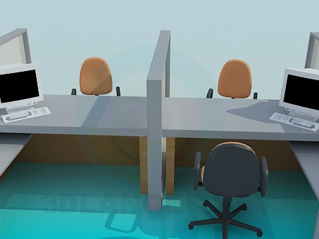 3d model Office workspace - preview
