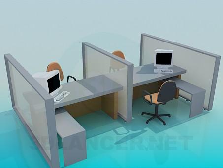 3d модель Рабочая область для офиса – превью