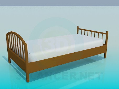3d модель Односпальная кровать с деревянными быльцами – превью