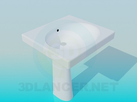 3d model Square wash basin - preview