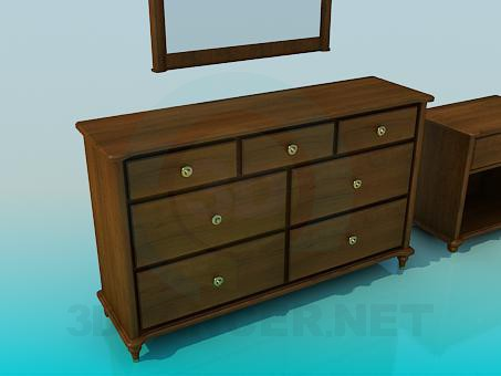 3d model Dressing table and cabinet - preview
