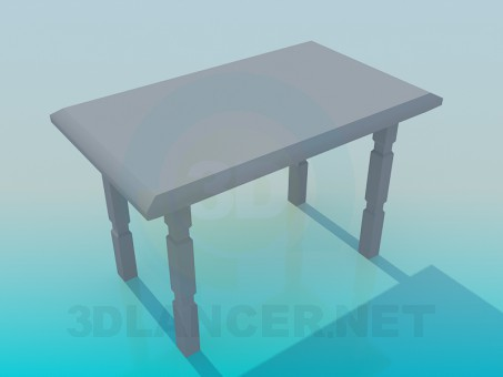 3d model wooden table - preview