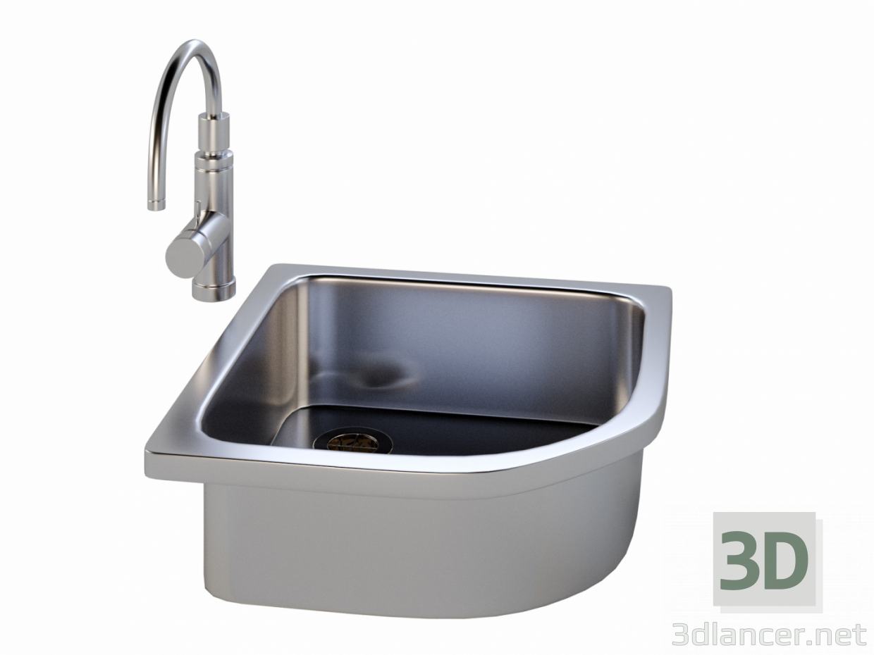 3d Kitchen sink with a tap model buy - render