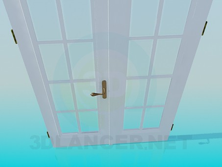 3d model Double door with glass - preview