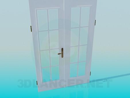 3d модель Двойная дверь со стеклами – превью