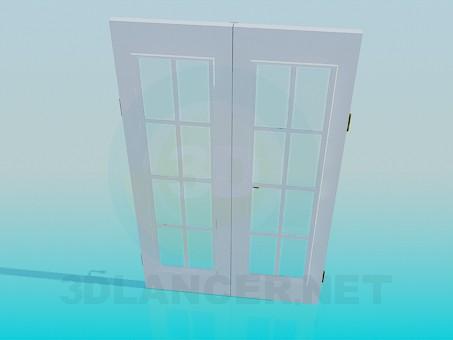 3d модель Подвійні двері зі склом – превью