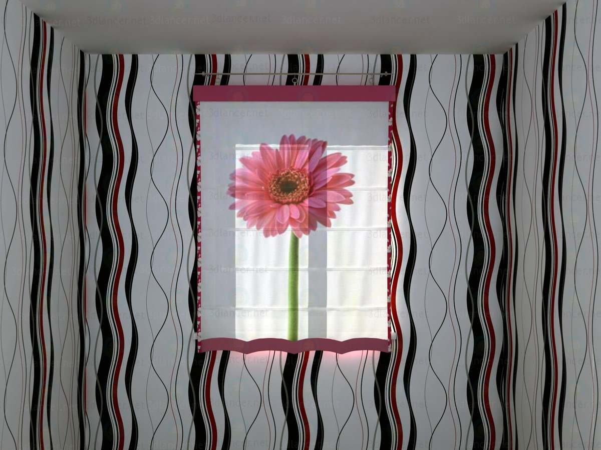 3d Roman Shade with big flower print model buy - render