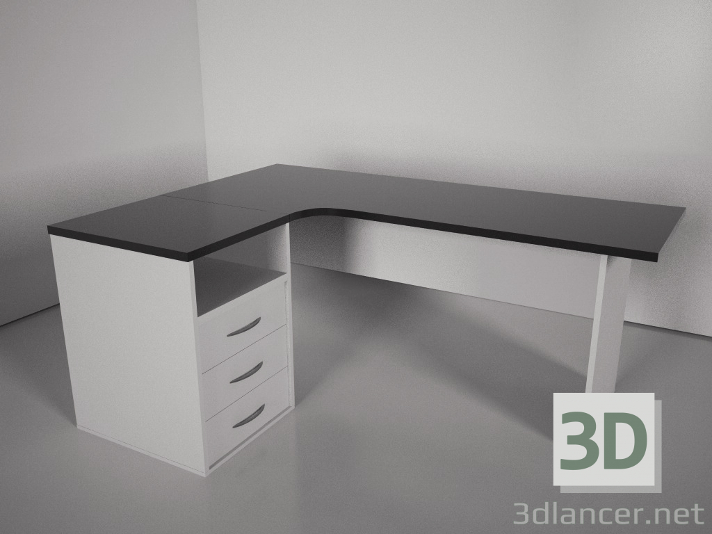modèle 3D Bureau d'ordinateur - preview