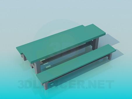 3d моделирование Стол с о скамейками модель скачать бесплатно