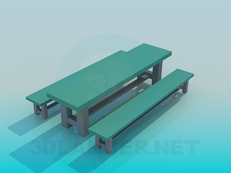 3d model The table with benches - preview
