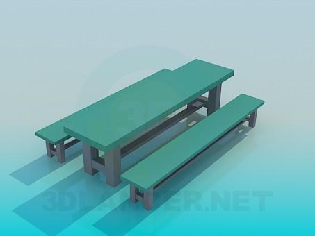 modelo 3D Mesa con bancos - escuchar