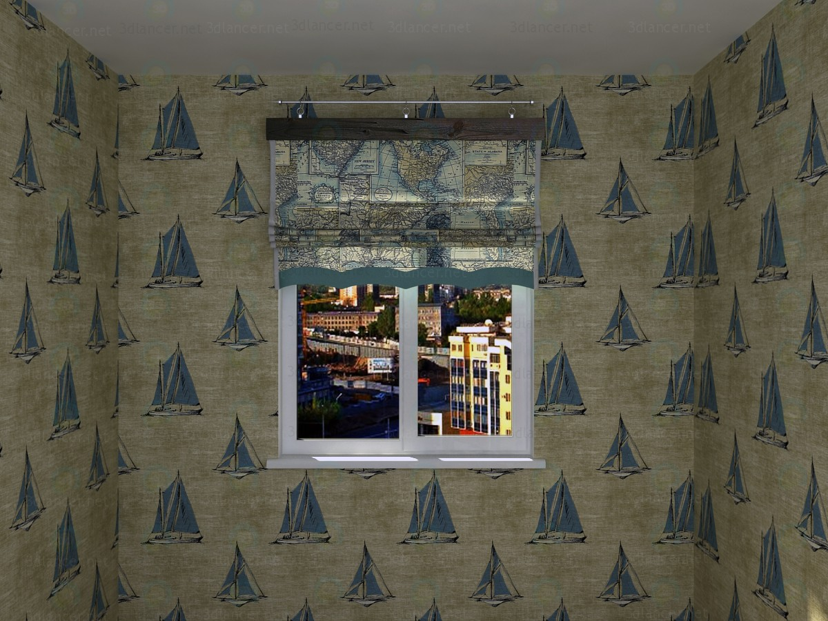 3d  Roman shade in a nautical theme  model buy - render