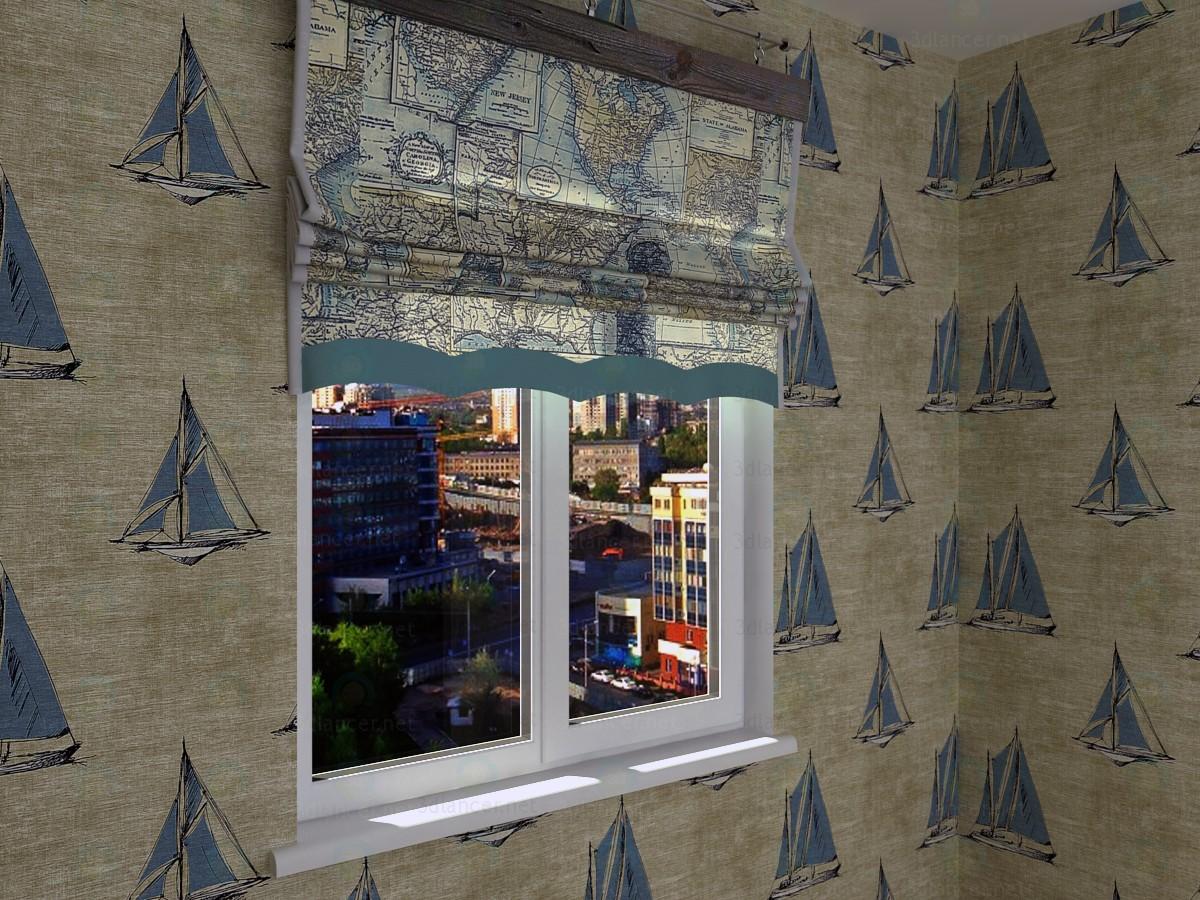 3D-Model Roman shade in a nautical theme