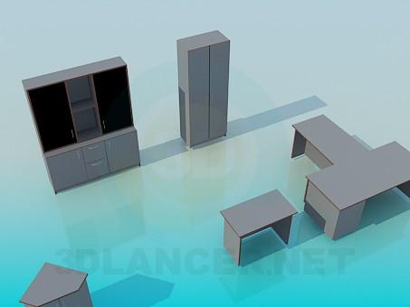 modelo 3D Conjunto de muebles de oficina - escuchar