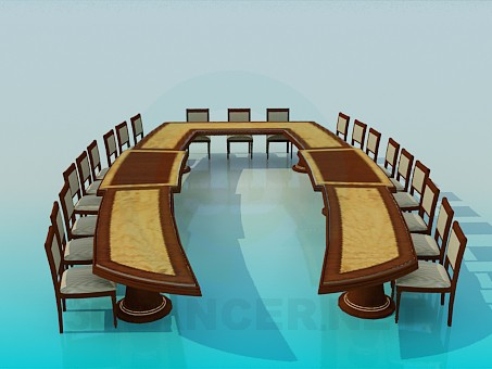 3d модель Стол для совещаний – превью