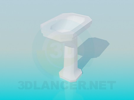 3d model Wash-stand with faces on the stem - preview