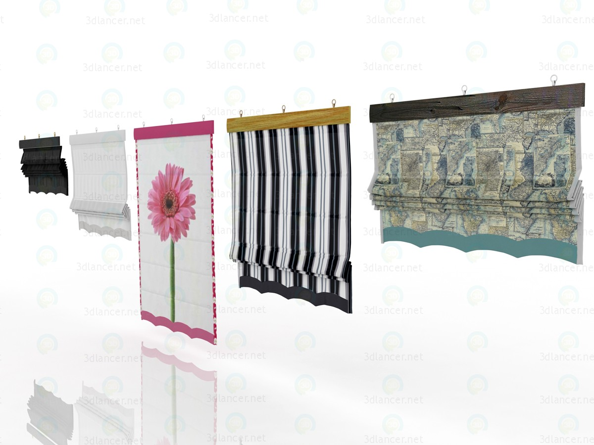 3d  Five different Roman shades with five different shaders  model buy - render